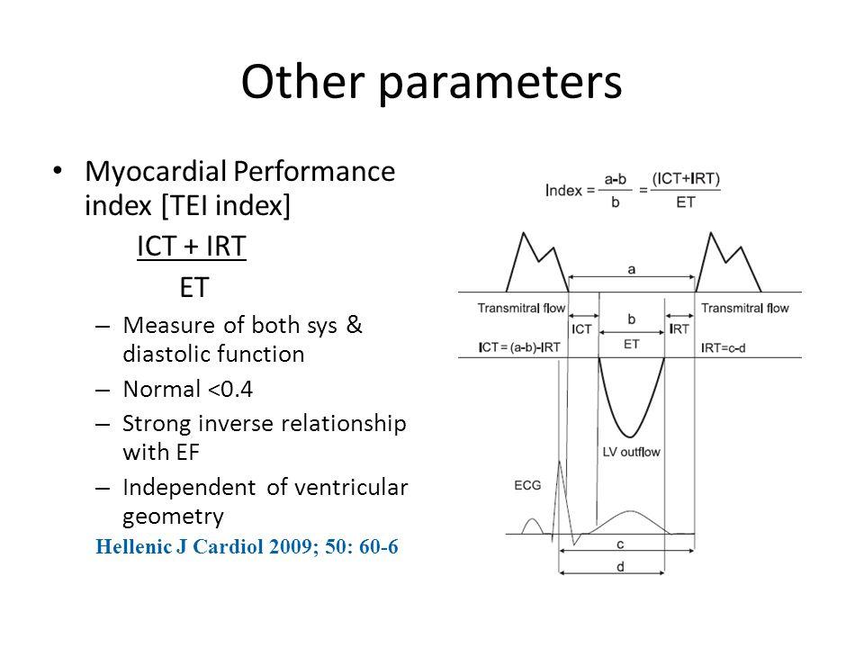 Other parameters Myocardial Performance index [TEI index] ICT + IRT ET